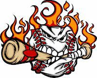 Flaming Baseball Ball Face Biting Bat Illustration Vector Stock Photo - Royalty-Freenull, Code: 400-05669553