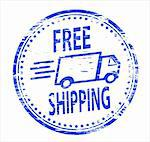 "Rubber stamp illustration showing ""FREE SHIPPING"" text. Also available as a Vector in Adobe illustrator EPS format, compressed in a zip file"