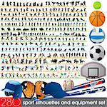 280 sport silhouettes and equipment set Stock Photo - Royalty-Free, Artist: kaludov                       , Code: 400-05670887