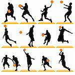 Basketball players silhouettes set Stock Photo - Royalty-Free, Artist: kaludov                       , Code: 400-05670901