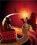 Illustration of the journey of the Three Kings in warm colors. Stock Photo - Royalty-Free, Artist: porteador                     , Code: 400-05670935