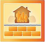project of warm house, bricks and family