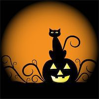 Spooky scary halloween cat and pumpkin Stock Photo - Royalty-Freenull, Code: 400-05671472
