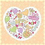 Happy birthday card vector illustration Stock Photo - Royalty-Free, Artist: SelenaMay                     , Code: 400-05671637