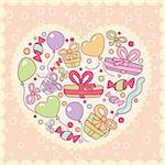 gifts, balloons in heart, vector illustration Stock Photo - Royalty-Free, Artist: SelenaMay                     , Code: 400-05671638