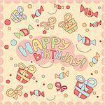Happy birthday card, vector illustration Stock Photo - Royalty-Free, Artist: SelenaMay                     , Code: 400-05671640