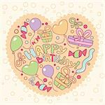 Happy birthday card, vector illustration Stock Photo - Royalty-Free, Artist: SelenaMay                     , Code: 400-05671641