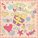 Happy birthday card, vector illustration Stock Photo - Royalty-Free, Artist: SelenaMay                     , Code: 400-05671642