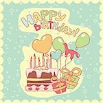 happy birthday card, vector illustration Stock Photo - Royalty-Free, Artist: SelenaMay                     , Code: 400-05671643