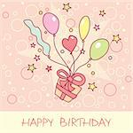 happy birthday card with balloons Stock Photo - Royalty-Free, Artist: SelenaMay                     , Code: 400-05671646