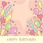 Happy birthday card with balloons Stock Photo - Royalty-Free, Artist: SelenaMay                     , Code: 400-05671647