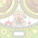 cute vector baby boy arrival card illustration Stock Photo - Royalty-Free, Artist: SelenaMay                     , Code: 400-05671795