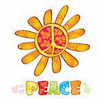Hippie peace symbol, vector illustration