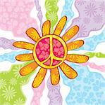 Hippie peace symbol, vector illustration Stock Photo - Royalty-Free, Artist: SelenaMay, Code: 400-05671829