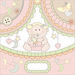 vector cute baby girl arrival card illustration Stock Photo - Royalty-Free, Artist: SelenaMay                     , Code: 400-05671847