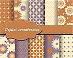 set of vector flower paper for scrapbook Stock Photo - Royalty-Free, Artist: Mary1507                      , Code: 400-05671875