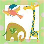 set of funny colorful geometric baby animals Stock Photo - Royalty-Free, Artist: Nadzeya                       , Code: 400-05672096