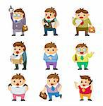 cartoon office workers icons
