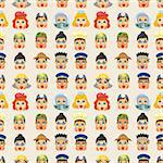 cartoon people job face seamless pattern Stock Photo - Royalty-Free, Artist: notkoo2008                    , Code: 400-05672176