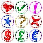 Various rubber stamp symbols. Pound, Dollar, Euro, Tick, Cross, Exclamation, Question, Star. Also available as a Vector in Adobe illustrator EPS format, compressed in a zip file
