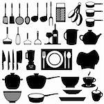Kitchen and cooking tools utensils Stock Photo - Royalty-Free, Artist: soleilc                       , Code: 400-05672872