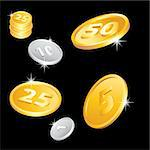 Illustration of the golden and silver coins Stock Photo - Royalty-Free, Artist: dvarg                         , Code: 400-05673150