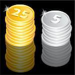 Illustration of the golden and silver coins Stock Photo - Royalty-Free, Artist: dvarg                         , Code: 400-05673151