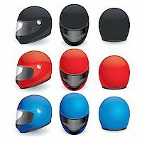 sports scooters - Vector illustration of motorcycle helmet. Black, red and blue set Stock Photo - Royalty-Freenull, Code: 400-05673152
