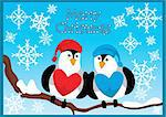 christmas card with birds and snowflakes Stock Photo - Royalty-Free, Artist: SelenaMay                     , Code: 400-05673316
