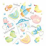 vector set of baby clothing and accessories Stock Photo - Royalty-Free, Artist: SelenaMay                     , Code: 400-05673465