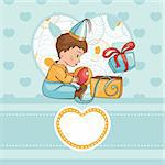 child with a birthday present vector illustration Stock Photo - Royalty-Free, Artist: SelenaMay                     , Code: 400-05673469