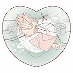 abstract romantic vector illustration in a heart