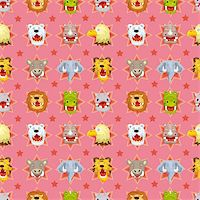 roar lion head picture - cartoon angry animal face seamless pattern Stock Photo - Royalty-Freenull, Code: 400-05673854