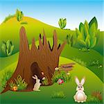Springtime Easter holiday illustration rabbits in wonderland