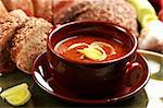 Goulash soup rye bread and leek - Hungarian national meal Stock Photo - Royalty-Free, Artist: Brebca                        , Code: 400-05674561