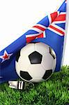 Flag of New Zealand with soccer in a field Stock Photo - Royalty-Free, Artist: photooasis                    , Code: 400-05674995