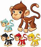 Funny monkey. Cartoon and vector isolated character Stock Photo - Royalty-Free, Artist: ddraw                         , Code: 400-05675247