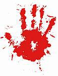 Red drop ink splatter hand print, blood splash vector. Gloss brush paint spot, grunge blot, art blob, oil, abstract droplet. Splat, liquid illustration. Stock Photo - Royalty-Free, Artist: svetap                        , Code: 400-05675404