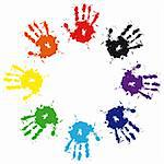 Print of hand from ink colorful splash. Vector grunge illustration of hand of child,  cute teamwork background Stock Photo - Royalty-Free, Artist: svetap                        , Code: 400-05675413