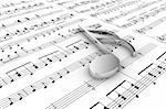 Silver musical note on a  background written notes Stock Photo - Royalty-Free, Artist: FotoVika                      , Code: 400-05675419