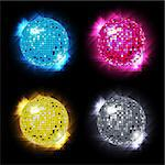 Disco Ball Set with different colors /  vector  / eps10 Stock Photo - Royalty-Free, Artist: TAIGA                         , Code: 400-05675817