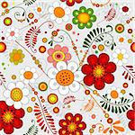 Grey seamless floral pattern with vivid flowers (vector) Stock Photo - Royalty-Free, Artist: OlgaDrozd                     , Code: 400-05675820