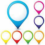 Set of colorful map pointer icons for any needs over white, vector illustration Stock Photo - Royalty-Free, Artist: MarketOlya                    , Code: 400-05676057