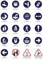 Illustration set of international communication signs. All vector objects and details are isolated and grouped. Colors, reflection and transparent background color are easy to remove or customize. Stock Photo - Royalty-Freenull, Code: 400-05676062