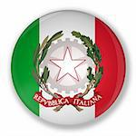 Illustration of a badge with flag and the royal coat of italy Stock Photo - Royalty-Free, Artist: marphotography                , Code: 400-05676375