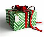 Gift box with red ribbon, green wrapping and tag on white background with isolation path included in 3D illustration Stock Photo - Royalty-Free, Artist: 3000ad                        , Code: 400-05676388
