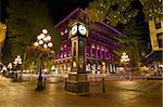 Historic Steam Clock in Gastown Vancouver British Columbia Canada at Night Stock Photo - Royalty-Free, Artist: jpldesigns                    , Code: 400-05676635