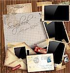Vintage scrapbook composition with old style distressed postage design elements and antique photo frames plus some post stickers. Background is wood. Stock Photo - Royalty-Free, Artist: DavidArts                     , Code: 400-05676692