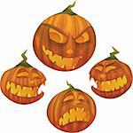 Vector Halloween pumpkin character with different face expressions: scared, evil, scary, happy Stock Photo - Royalty-Free, Artist: mythja                        , Code: 400-05676709