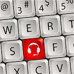 Computer keyboard with a key Headphones Stock Photo - Royalty-Free, Artist: TAlex                         , Code: 400-05676721